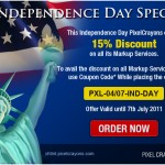Independence Day Special Offer by PixelCrayons: Save 15% on All Markup Services