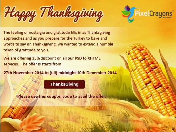 ThanksGiving 2014: Get 15% Discount on All Markup Services by PixelCrayons