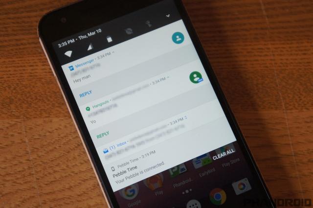 Android-N Notifications look Screenshot