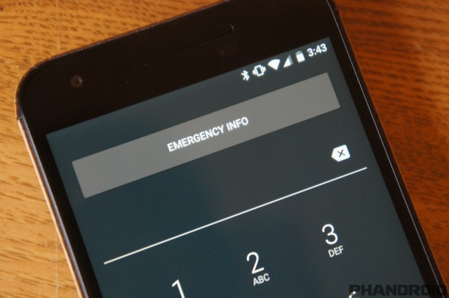 Android-N emergency information on the lock screen